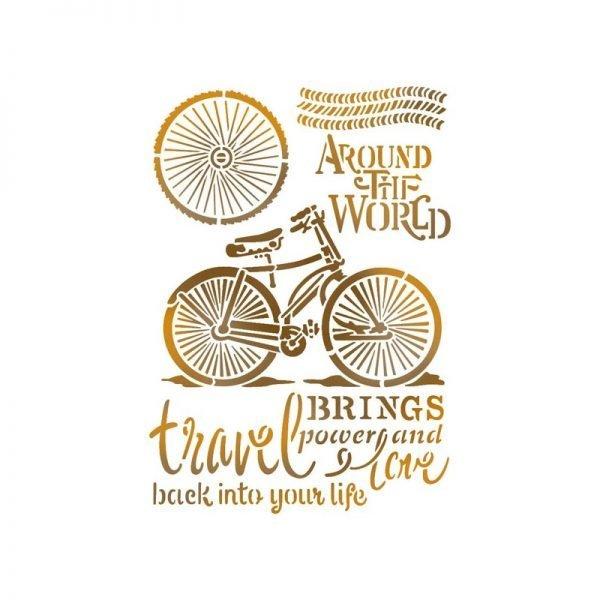 Stamperia Stencil AroundTheWorld Bicicletta