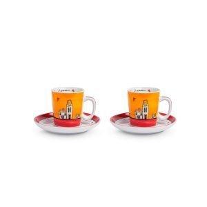 Set 2 Tazze caffè con piattini Le Casette rosso