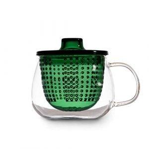 La tazza tisaniera verde in vetro con filtro+coperchio 300 ml di WD Lifestyle, permette di preparare la bevanda direttamente dentro la tazza.