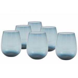 Set 6 Bicchieri Blu, Vetro, happyhour New