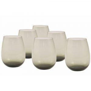 Set 6 Bicchieri Grigi Vetro,happyhour New